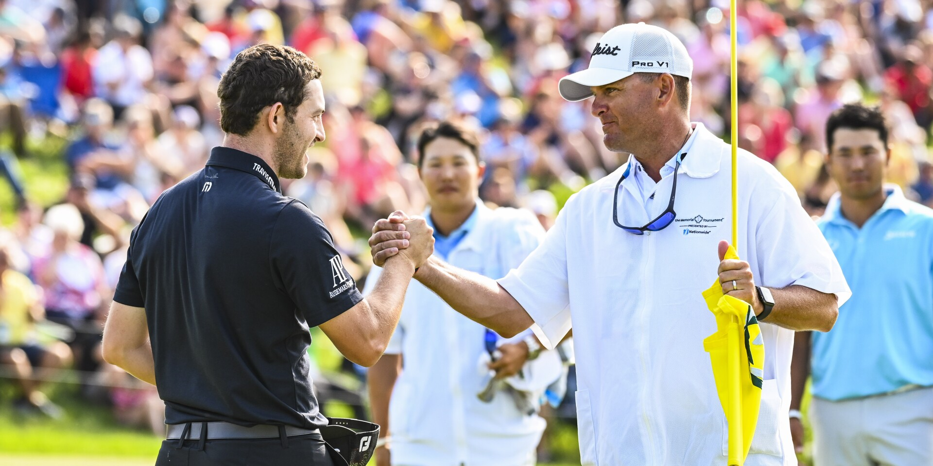 the Memorial Tournament presented by Nationwide - Cantlay celebrating with his caddie